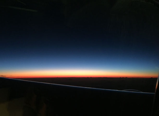 Sky horizon, from a plane window