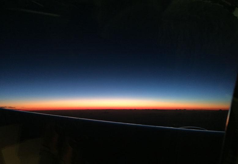 Sky horizon, from a plane window